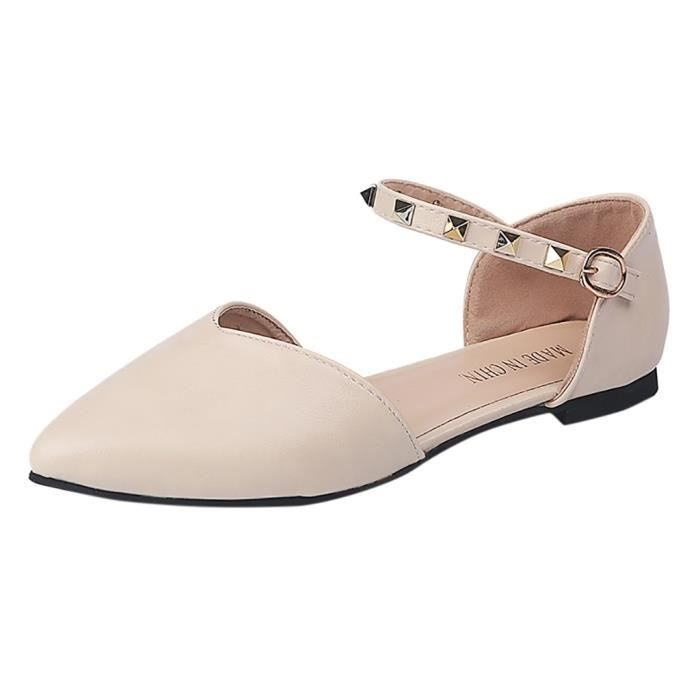 love6800 Boucle Pointu Automne Femmes Printemps Chaussures Rivet Simple Slip Flats Bout on APtx0d6w