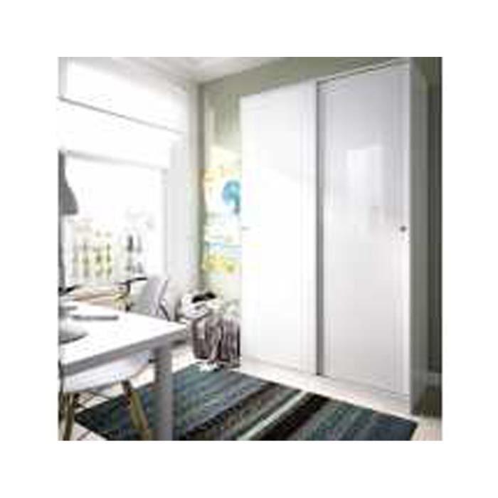 Armoire avec 2 portes coulissantes coloris blanc brillant - Dim ...