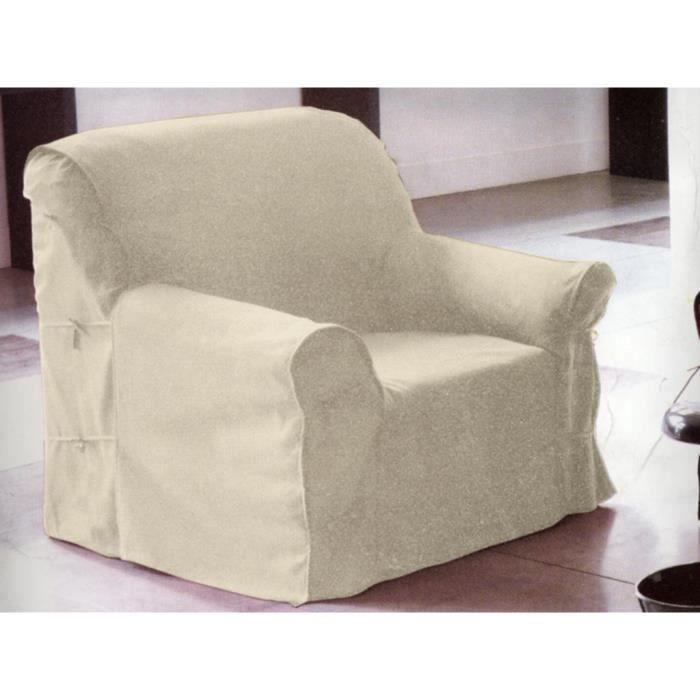 Housse de fauteuil cru 90x270 cm achat vente housse for Housse coussin fauteuil