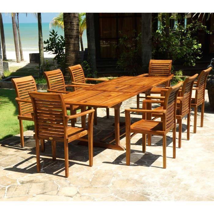 Salon jardin en teck huilé livré avec 8 fauteuils - Achat / Vente ...