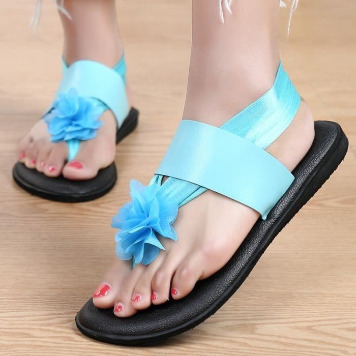 Yoga pour femmes Bandage Flip Floral Imprimer Flops Sandales plates