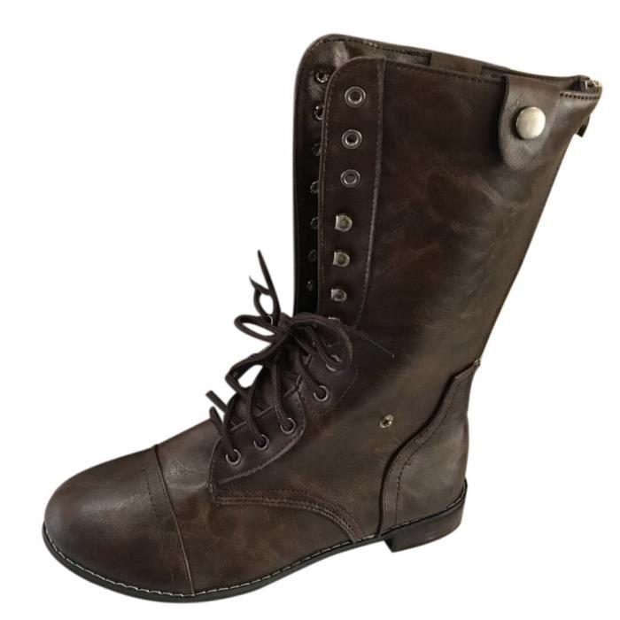 Botte Bottes Courte Chaussures Dedasing® Bas Talon Bottines Épais aC01Uaxn