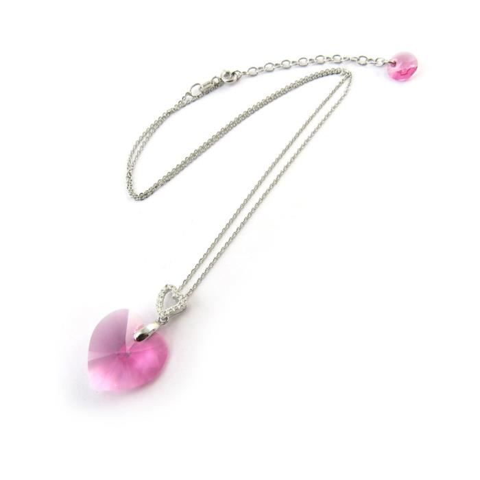Lily-Crystal [N3437] - Collier Argent Love(Crystal)