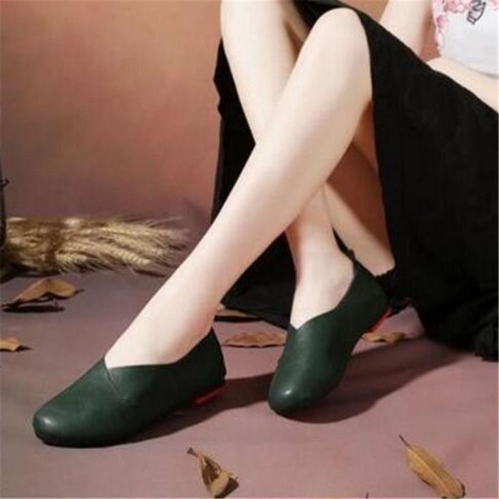 Ballerine Femmes Printemps Été Mode Cuir Chaussures BSMG-XZ057Vert39