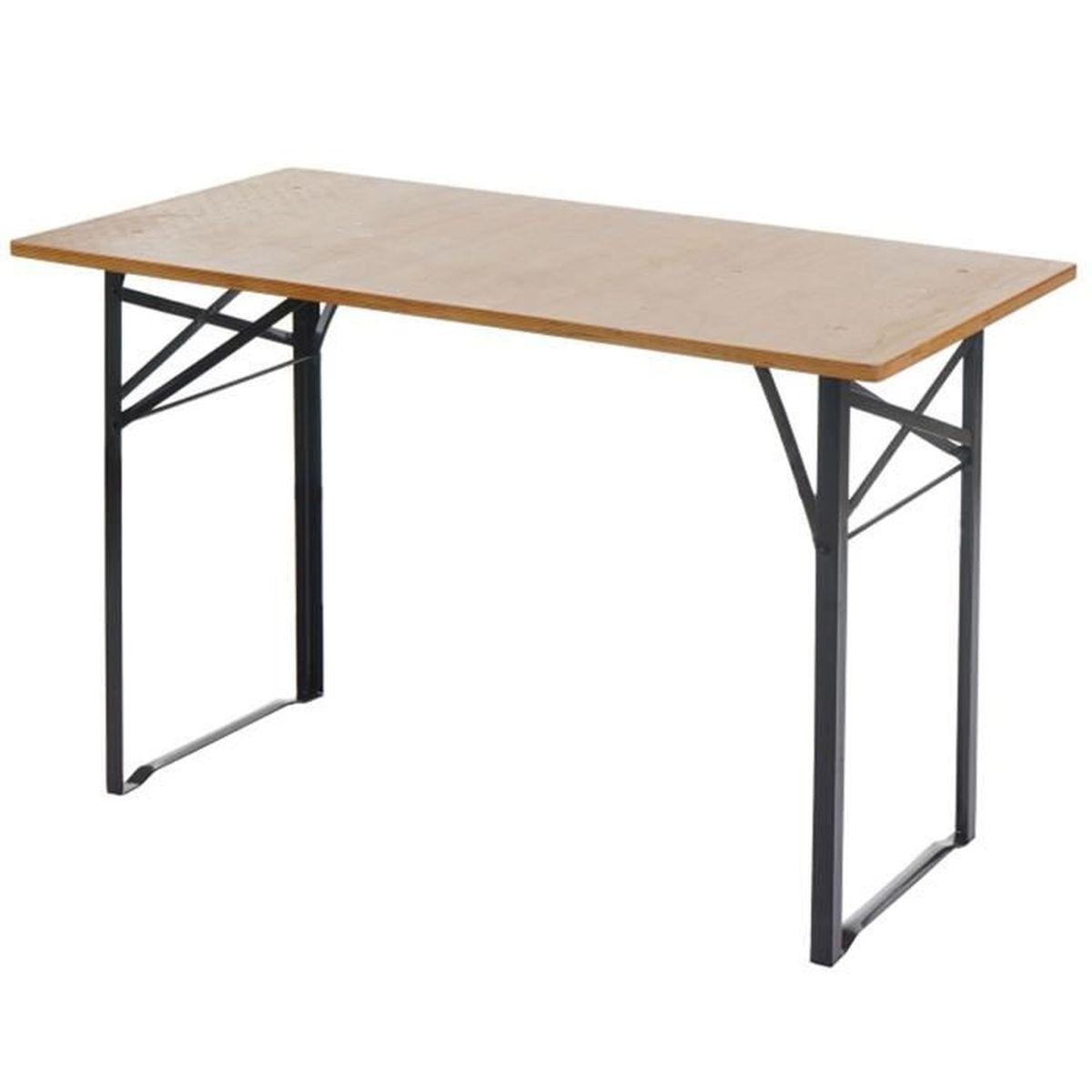 Table de jardin en bois pliable - Dim : H 76 x L 115 x P 60 cm ...