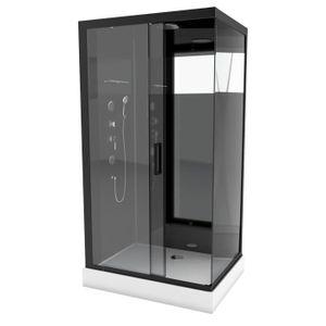 CABINE DE DOUCHE AURLANE Cabine de douche hydromassante Black Mirro