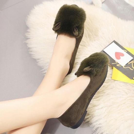 Femmes Femmes Slip On Sliders Fluffy en fausse fourrure plat Flip Flop Lapin Chaussures simples    vert Vert Vert - Achat / Vente slip-on