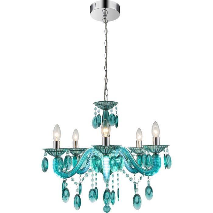 Lustre Chrome - Cristaux Acryliques turquoise - Acrylique - A:580 - H:1260 - Ampoule non incluseLUSTRE - SUSPENSION