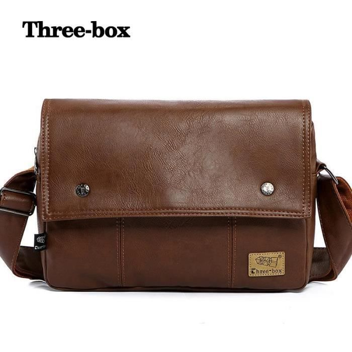 sac à main Hommes Vintage portable bandoulière pour les hommes en cuir Casual Hommes Sacs -678
