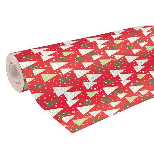 gros rouleau papier cadeau 50m alliance rouge avec motifs sapin