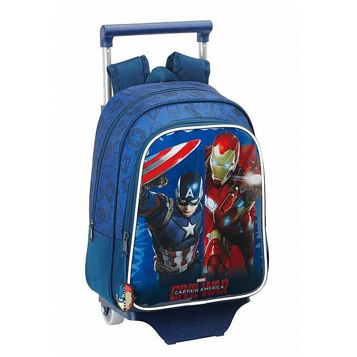 Sac à roulettes Captain America 33 CM maternelle Haut de gamme - Cartable