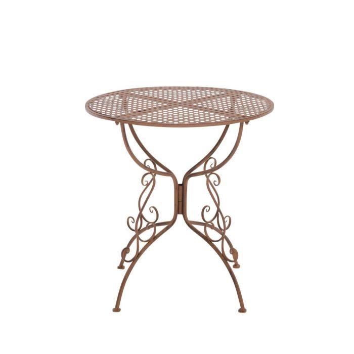 CLP Table de jardin ronde en fer forgé AMANDA, faite à la main dans ...