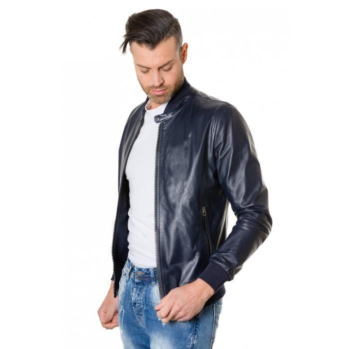 GAUDI couleur bleue foncée blouson cuir homme style bomber cuir plongé -  Colore Bleu 3a33cb72e517
