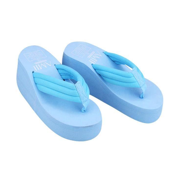 Femmes D'été Chaussures Hauts Talons Sandales de Plage Dames Épais Haute Plage Flip Flops Wedge Plate-Forme Pantoufles
