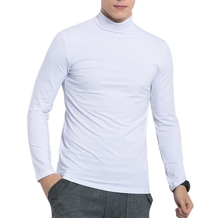 7e5b60916fc4 Sous-pull homme en coton couleur uni à manches longues sous-pull à col  cheminé coupe slim Blanc