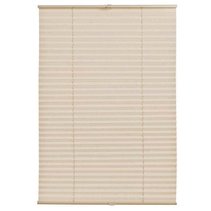 neu.haus plissé prêt à fixer (75 x 200 cm) (crème) - protection contre le soleil et la lumière - opaque (inutile de percer)