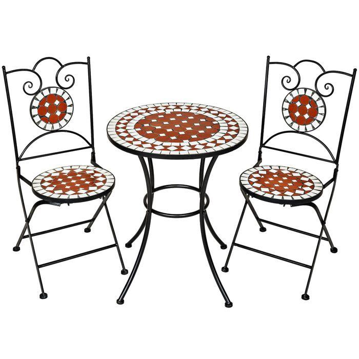 Table de jardin en mosaique avec chaises - Achat / Vente pas cher