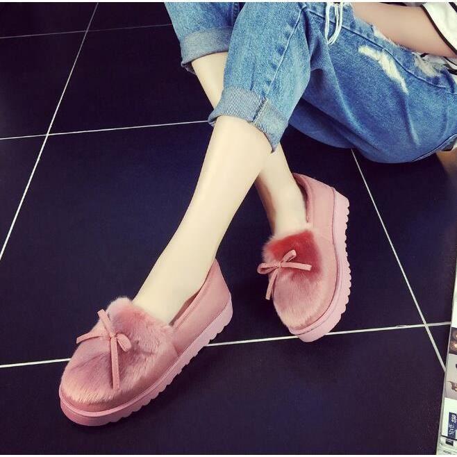 Femme Pantoufles En Coton Hiver Chaud Chaussons D'Intérieur Chaussures Avec Bowknot LWCzk