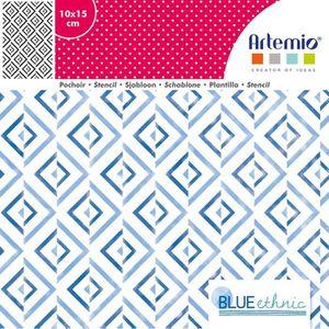 POCHOIR CRÉATIF Pochoir 10x15 cm Blue Ethnic Fond - Artémio {coule