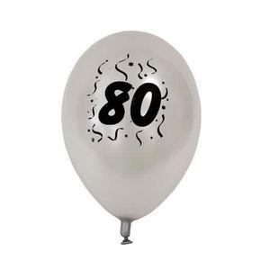 BALLON DÉCORATIF  Ballon anniversaire nacré argent 80ans (x8) REF/BA