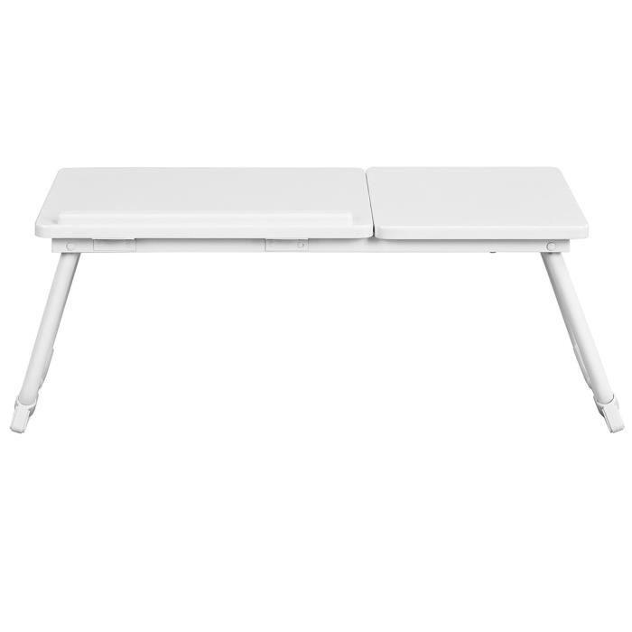 Tablette de lit pliable MAMIE BEECH - Structure en métal - Coloris blanc laqué