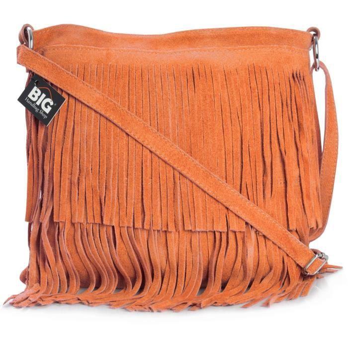 Womens Suede Leather Tassle Fringe Shoulder Bag XBO6Z