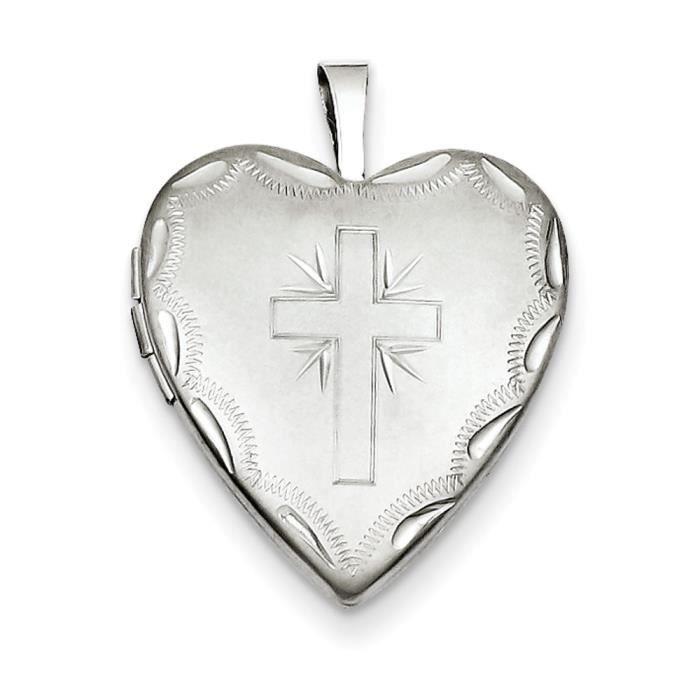 Satin 20 mm-Argent 925/1000–Diamant-Croisé-en forme de médaillon cœur