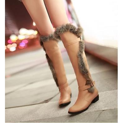 Les souliers d'hiver cuissardes bottes à talons hauts bottes Martin bottes coréennes, Brown 36