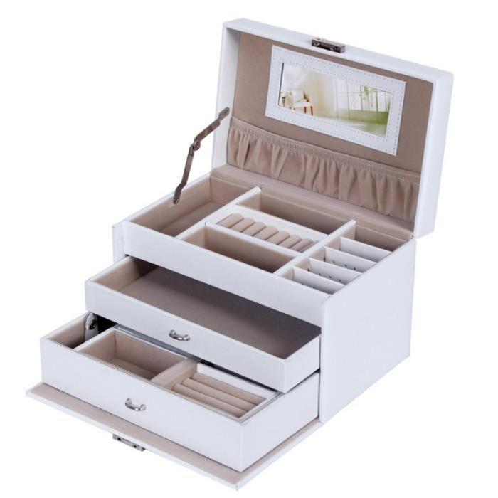 Coffret boîte présentoir bijoux montres blanc luxe 2012023
