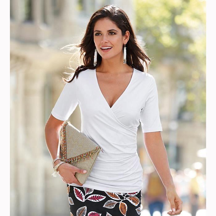 8f98dbc82e8 Tee-shirt cache-coeur femme VENCA Blanc - Achat   Vente t-shirt ...