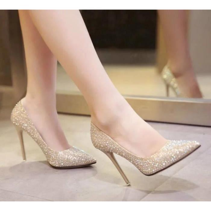 Nouvelle Arrive Talon Haut Chaussures Femme Talon Fin Style Européen Sexy Faux Diamant Désign Pointu Chaussures de Bureau