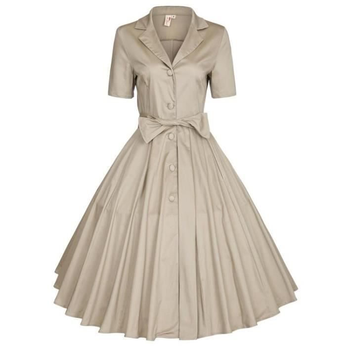 SIMPLE FLAVOR Robe Femmes Mode Couleur Pure Longue Retro