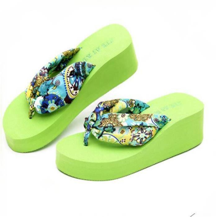 chausson femmes Fleurs Bohême Mode Pantoufles Plate-Forme Haut qualité Femmes Chaussures Confortable D'été Plage tong