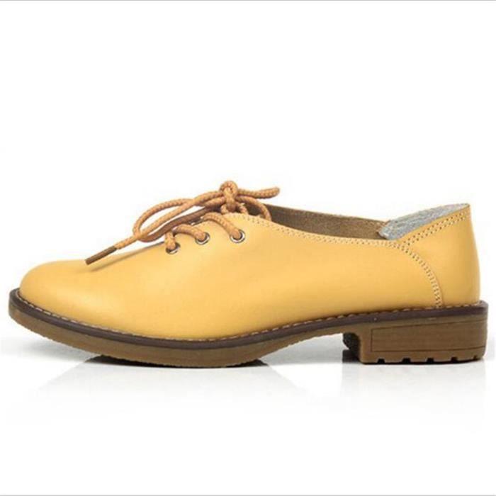 Femme Chaussures Nouvelle arrivee ete Haut qualité en cuir Poids Léger femmes plates Chaussure cuir Respirant Plus Taille 35-40
