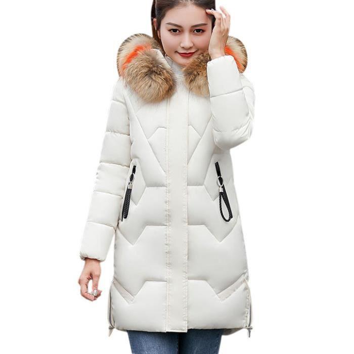 dedasing® femme hiver manteau chaud en fausse fourrure à capuchon épais chaud Veste Slim long manteau blanc