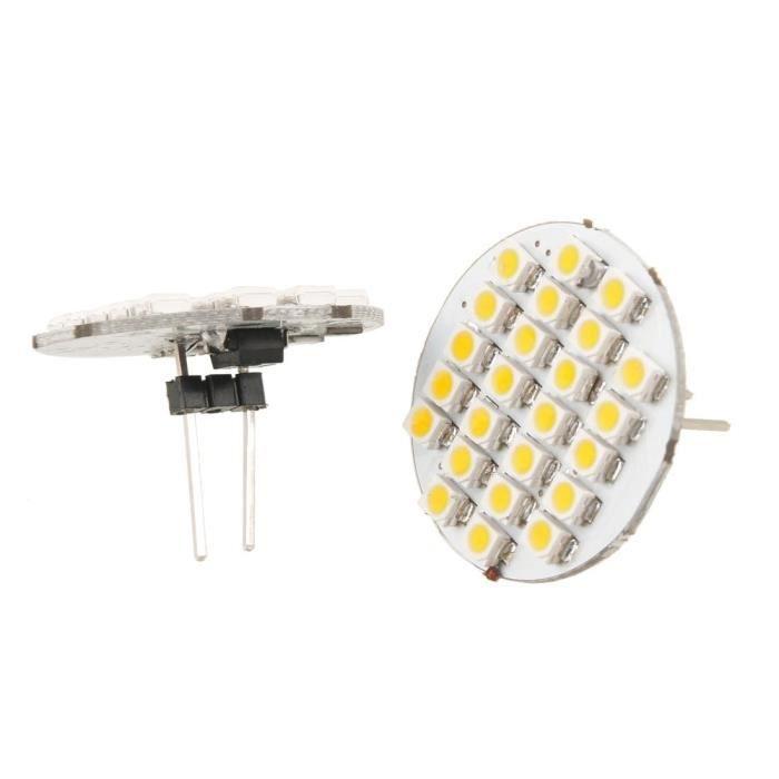 2 x 1210 SMD 24 LEDs G4 Ampoule vertical arriere axe de lampe en lumiere blanche chaude pour voiture et automobile