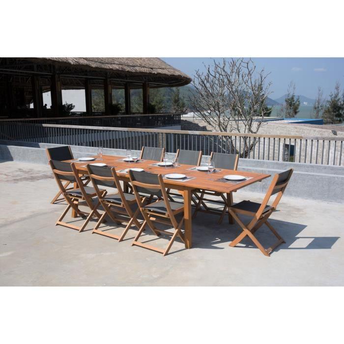 Ensemble de mobilier de jardin 8 places - 1 table extensible avec 8 ...