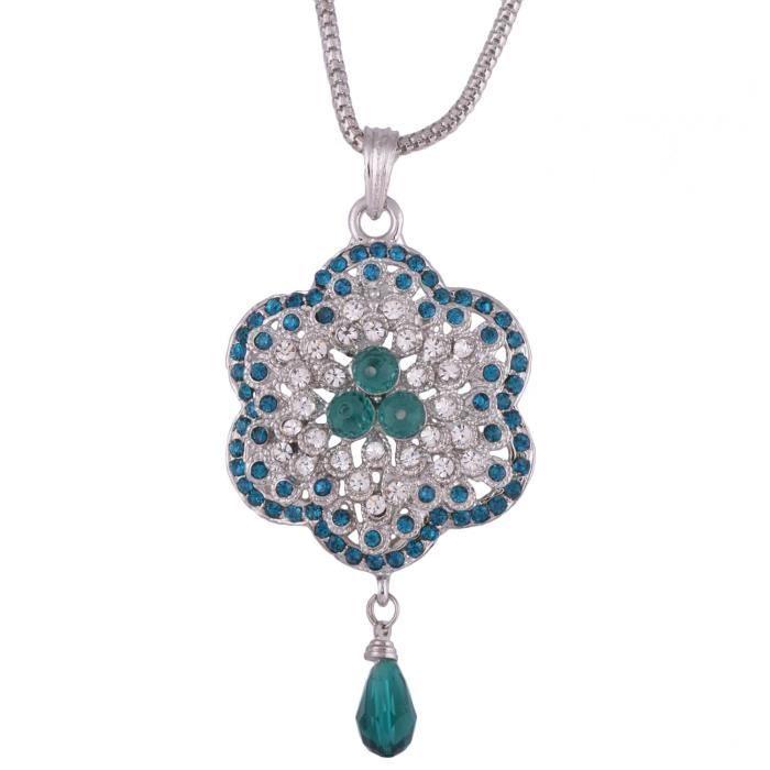 Blanc des femmes et la lumière pierres bleues Flower Design Pendentif Set T4K2U