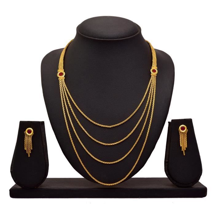 Womens Jfl - Traditional Ethnic Multi Strand One Gram Gold Plated Designer Necklace Set With Earri ZY8NT