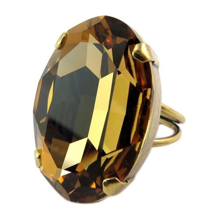 Bague artisanale Tsarine marron topaze doré - 30x21 mm [P6638]