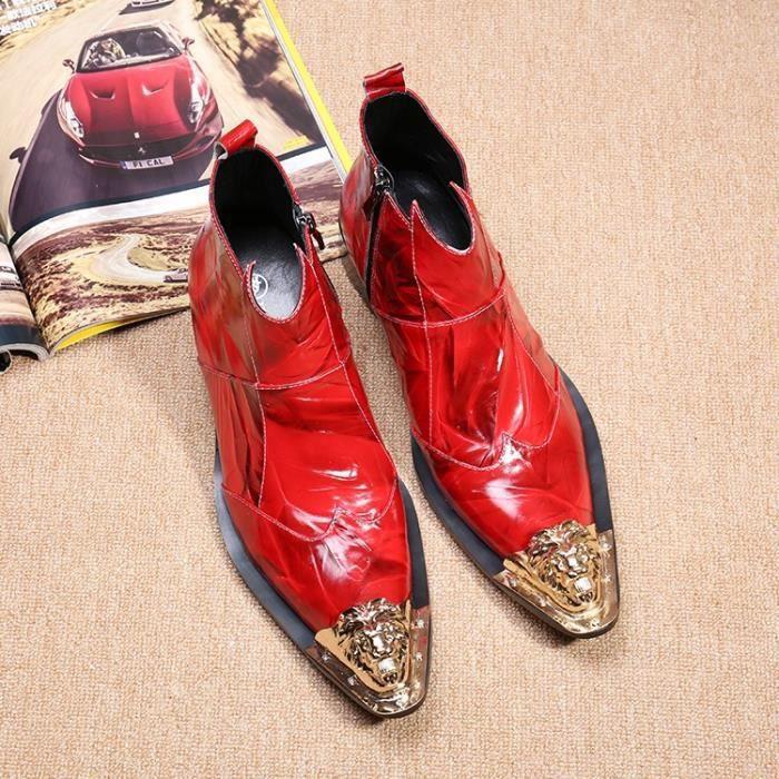 Hommes bout pointu Red Metal Chaussures en cuir souple Botas Hombre avec des rivets Zipper Décor de printemps Bottes automne