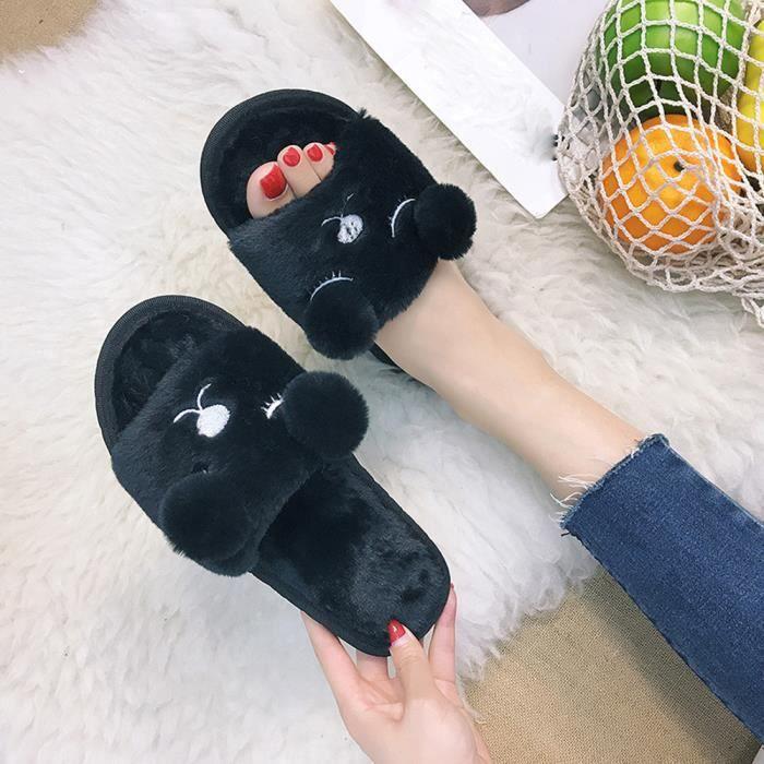 Napoulen®Lapin plat curseurs duvet moelleux faux chausson sandales flip flop NOIR-XYM70804901BK