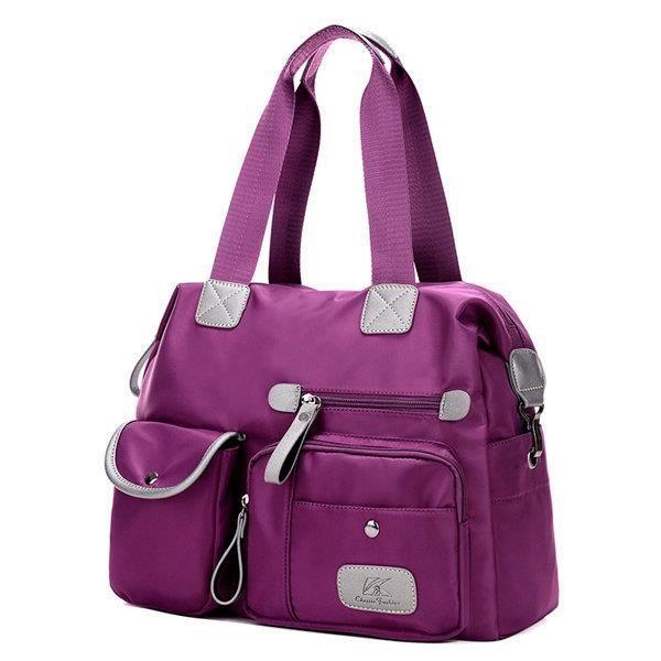 SBBKO1633Les femmes en nylon léger multi-poches gros sacs à main de capacité Crossbody Noir