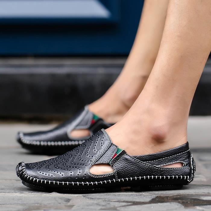 Mode Hommes Outdoor Chaussures en cuir Souliers simples de conduite Mocassins Chaussures plates