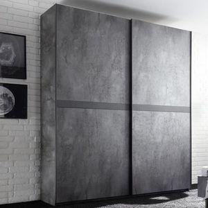 ARMOIRE DE CHAMBRE Armoire 200 cm design gris effet oxidé CASONE Gris