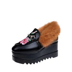 Mocassins Femmes Pompes style preppy Strappy Casual Vintage sélectionl Sole Chaussures épais 11778592 kEoNvP