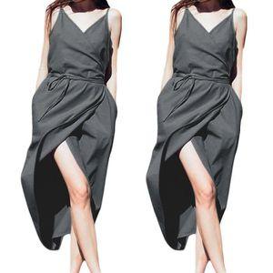 ROBE Mode réglable Pure Color Jarretière Robes d'été Fe