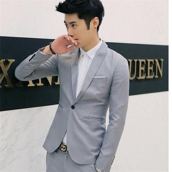 Korean Style Men Suit Coat Slim Suit Men S Jacket Solid Color Casual