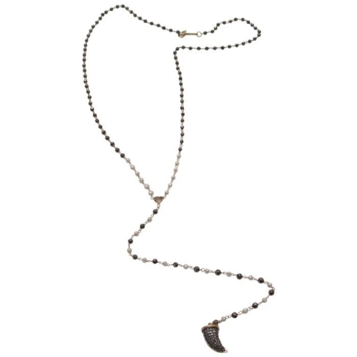Tai Charm Beaded Pyrite Y-shaped Necklace, 24 H1HV9