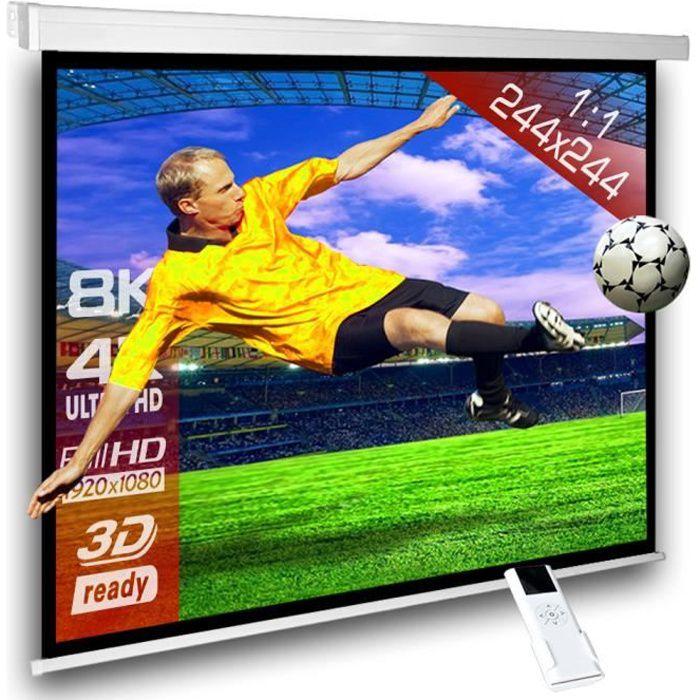 244 x 244 cm cran videoprojecteur motoris 1 1 ecran de. Black Bedroom Furniture Sets. Home Design Ideas